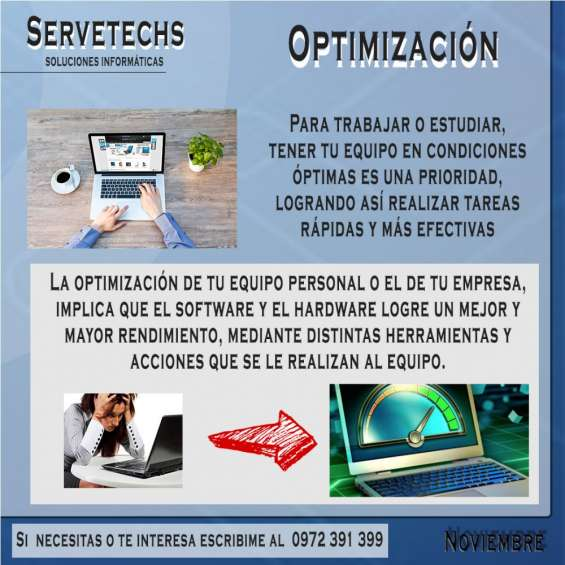 Servicio técnico informático pc laptop optimizacion